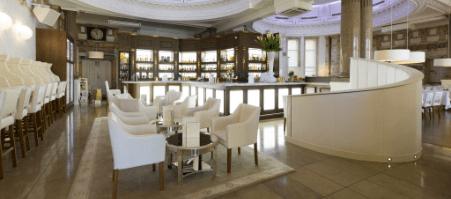 Restaurant featuring marble decor